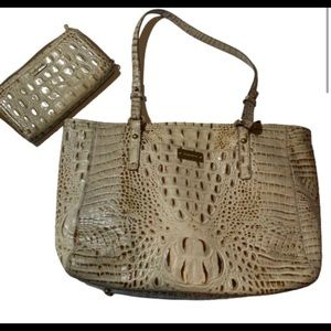 Brahmin Melbourne Tote and Wallet Combo Light Tan